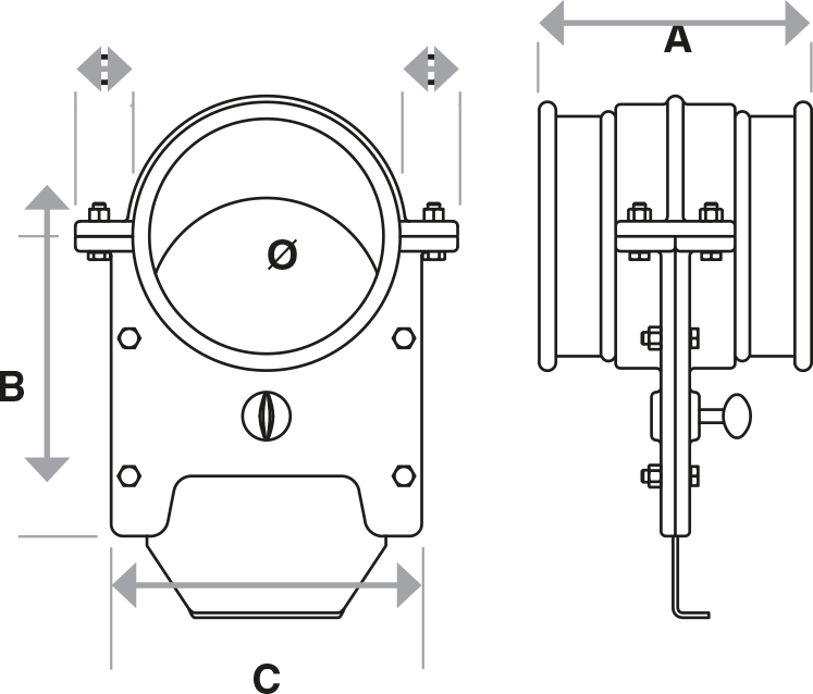 Blast Gate Dampers technical drawing